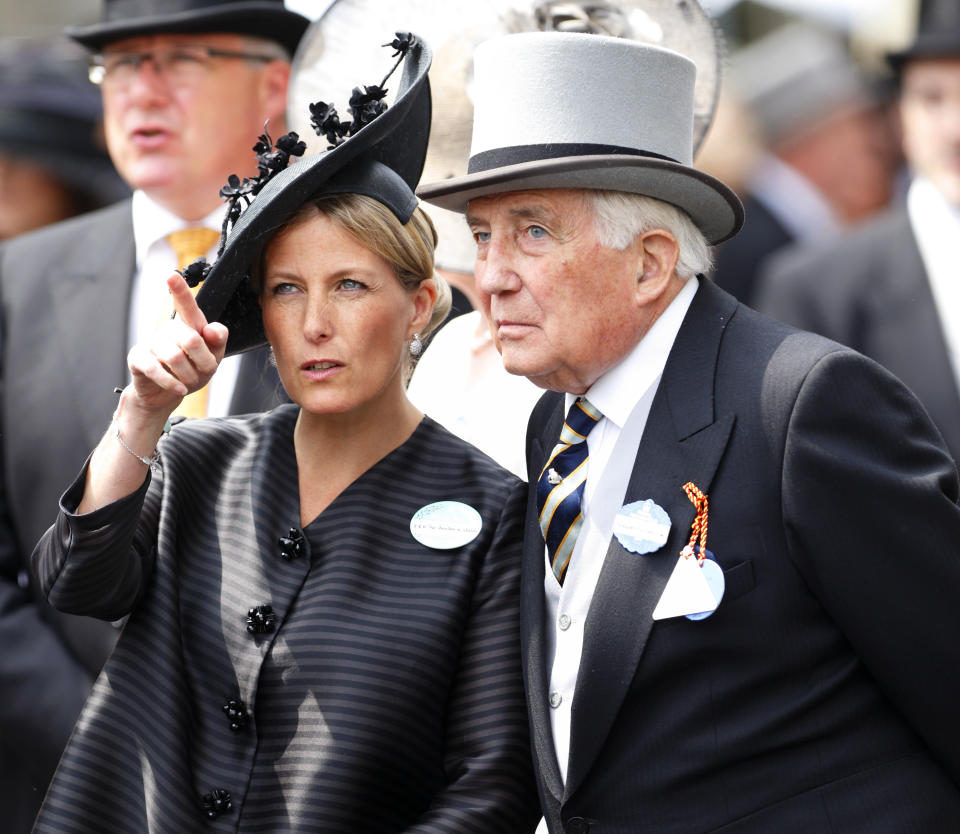 ASCOT, UNITED KINGDOM - JUNE 21: (EMBARGOED FOR PUBLICATION IN UK NEWSPAPERS UNTIL 48 HOURS AFTER CREATE DATE AND TIME) Sophie, Countess of Wessex and her father Christopher Rhys-Jones attend Day 4 of Royal Ascot at Ascot Racecourse on June 21, 2013 in Ascot, England. (Photo by Max Mumby/Indigo/Getty Images)