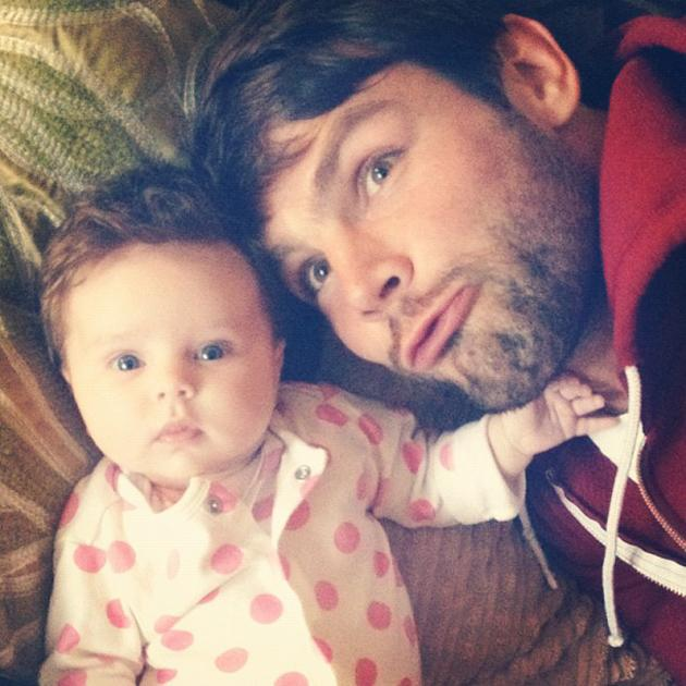 """Celebrity photos: The Saturdays' Una Healy and her England Rugby player fiancé Ben Foden became parents two months ago with the arrival of little Aoife Belle. This week, Una tweeted this photo of Aoife and Ben, with the caption: """"Beauty and the beast!"""" [sic]"""