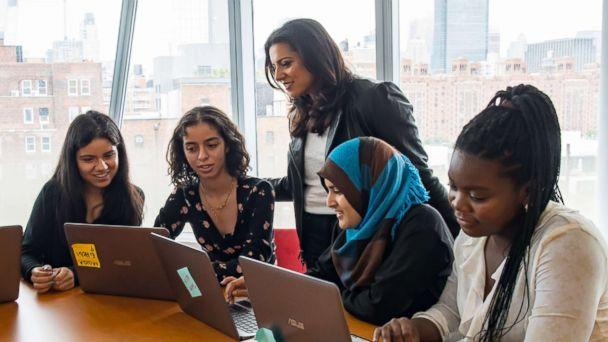 PHOTO: Girls Who Code Founder and CEO Reshma Saujani is photographed with participants at the IAC building in New York, July 25, 2018. (Courtesy Girls Who Code)