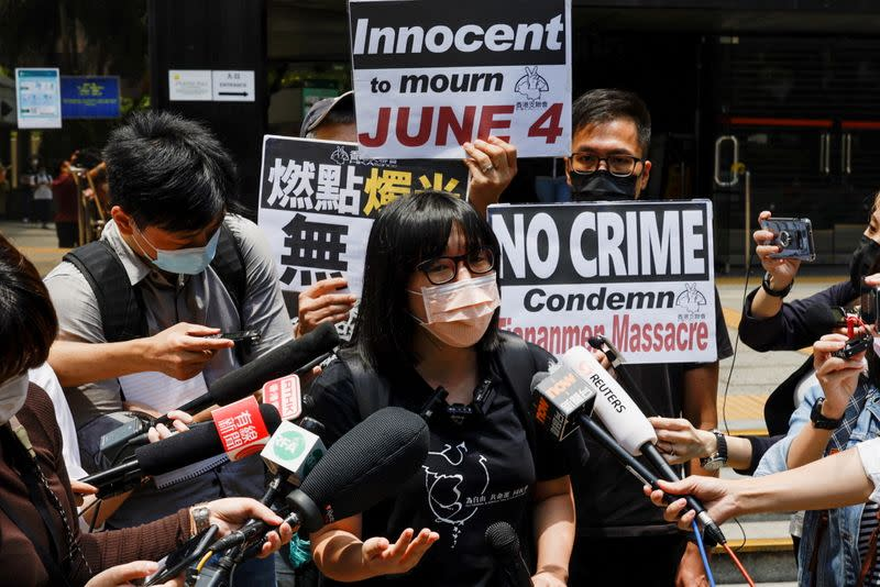 Vice-chairwoman of Hong Kong Alliance in Support of Patriotic Democratic Movements of China, Chow Hang-tung speaks to media outside the court in Hong Kong