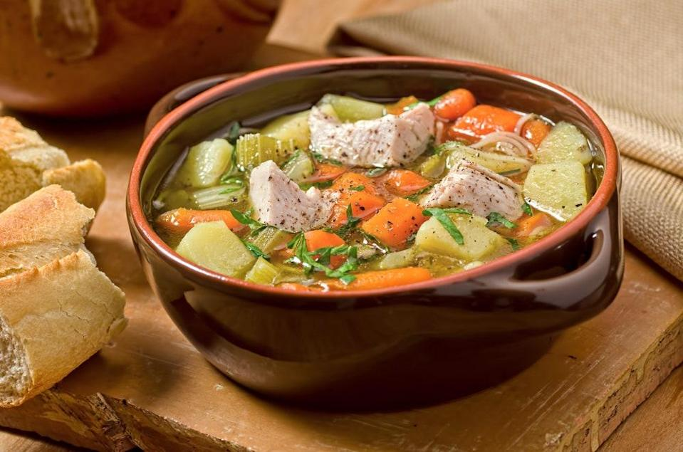 """A few fresh vegetables and a leftover turkey is all you'll need to create this phenomenal soup—perfect for cold nights and holiday nostalgia. <a href=""""https://www.epicurious.com/recipes/food/views/turkey-soup-232958?mbid=synd_yahoo_rss"""" rel=""""nofollow noopener"""" target=""""_blank"""" data-ylk=""""slk:See recipe."""" class=""""link rapid-noclick-resp"""">See recipe.</a>"""