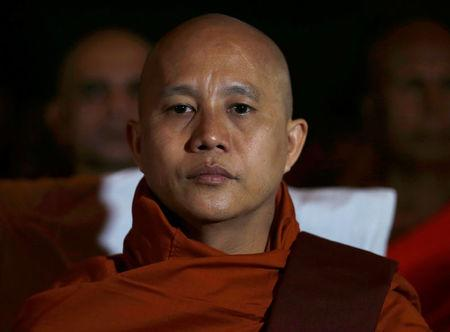 Buddhist monk Ashin Wirathu looks on as he attends a convention held by the Bodu Bala Sena (Buddhist Power Force, BBS) in Colombo September 28, 2014. REUTERS/Dinuka Liyanawatte/File Photo