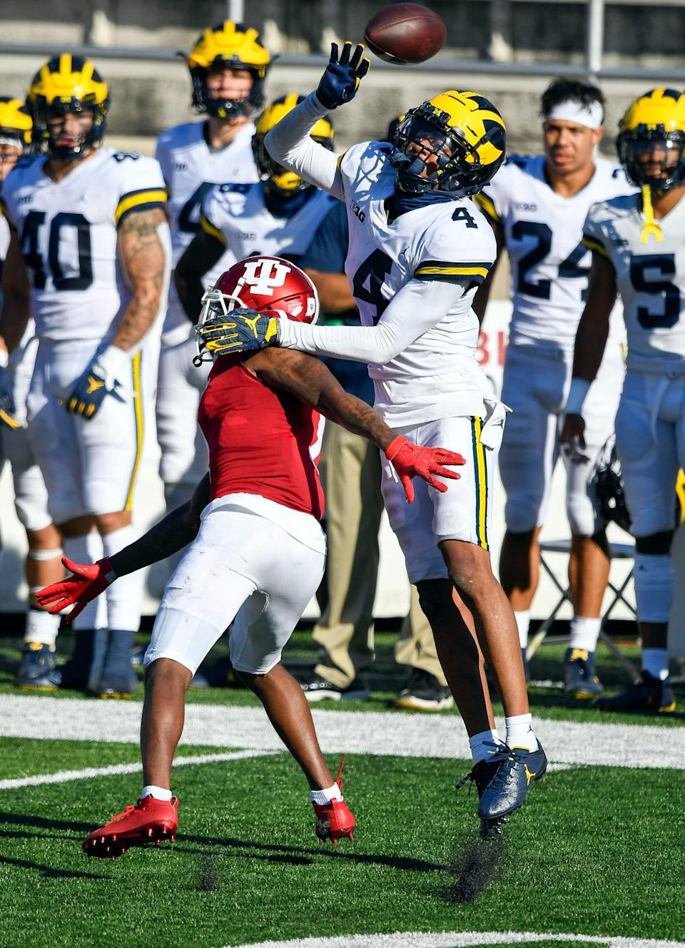 Michigan defensive back Vincent Gray prevents Indiana wide receiver Whop Philyor from catching a pass during the second half of U-M's 38-21 loss on Saturday, Nov. 7, 2020, in Bloomington, Indiana.