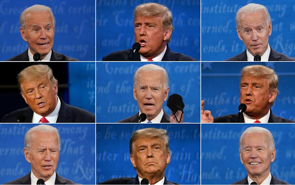 US President Donald Trump and Democratic Presidential candidate and former US Vice President Joe Biden during the final presidential debate - AFP