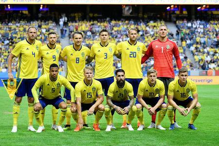 FILE PHOTO - Soccer - International Friendly - Sweden v Denmark - Friends Arena, Solna, Stockholm, Sweden - June 2, 2018. Sweden's team, with Andeas Granqvist, Marcus Berg, Albin Ekdal, Victor Nilsson Lindelof, Ola Toivonen, Robin Olsen, Martin Olsson, Oscar Hiljemark, Jimmy Durmaz, Emil Forsberg and Emil Krafth, poses. TT News Agency/Bjorn Larsson Rosvall via REUTERS