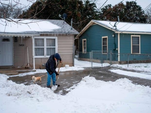 A man in Waco, Texas, is seen clearing snow from his driveway alongside his dog on Wednesday.