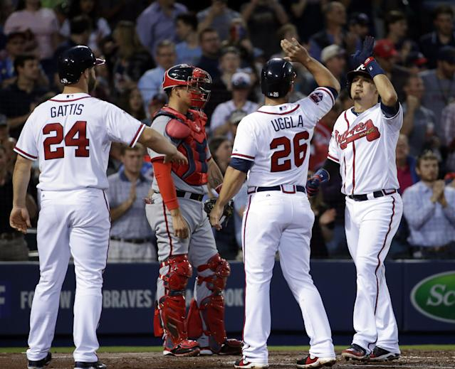 Atlanta Braves' Ramiro Pena, right, high-fives teammates Evan Gattis, left, and Dan Uggla after hitting a three-run home run in the second inning of a baseball game against the Washington Nationals, Friday, April 11, 2014, in Atlanta. (AP Photo/David Goldman)