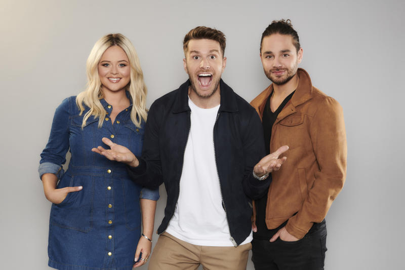 Emily Atack, Joel Dommett and Adam Thomas will host I'm A Celebrity... Extra Camp on ITV2 (Credit: ITV)