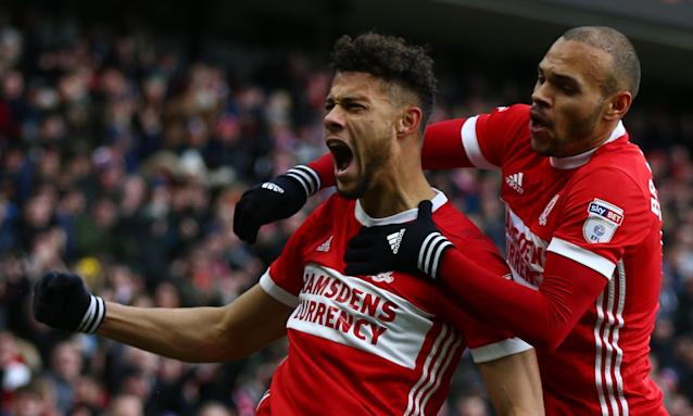 Rudy Gestede, left, celebrates his 10th-minute goal with Martin Braithwaite, who scored Middlesbrough's second in their 2-0 win against Sunderland.