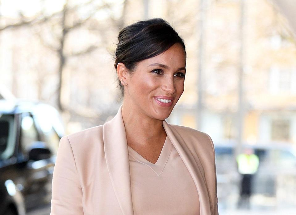 Meghan Markle, the Duchess of Sussex, visits The National Theatre on Jan 30, 2019 in London. (Photo: Karwai Tang/WireImage)
