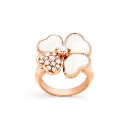 """<p><a class=""""link rapid-noclick-resp"""" href=""""https://go.redirectingat.com?id=127X1599956&url=https%3A%2F%2Fwww.vancleefarpels.com%2Fgb%2Fen%2Fcollections%2Fjewelry%2Fflora%2Fcosmos%2Fvcaro51y00---cosmos-ring-medium-model.html&sref=https%3A%2F%2Fwww.harpersbazaar.com%2Fuk%2Ffashion%2Fjewellery-watches%2Fg35190301%2Fsex-and-the-citys-best-jewellery-moments%2F"""" rel=""""nofollow noopener"""" target=""""_blank"""" data-ylk=""""slk:SHOP NOW"""">SHOP NOW</a></p><p> Rose gold, diamond and mother-of-pearl ring, £9, 650, <a href=""""https://go.redirectingat.com?id=127X1599956&url=https%3A%2F%2Fwww.vancleefarpels.com%2Fgb%2Fen%2Fhome.html&sref=https%3A%2F%2Fwww.harpersbazaar.com%2Fuk%2Ffashion%2Fjewellery-watches%2Fg35190301%2Fsex-and-the-citys-best-jewellery-moments%2F"""" rel=""""nofollow noopener"""" target=""""_blank"""" data-ylk=""""slk:Van Cleef & Arpels"""" class=""""link rapid-noclick-resp"""">Van Cleef & Arpels</a></p>"""