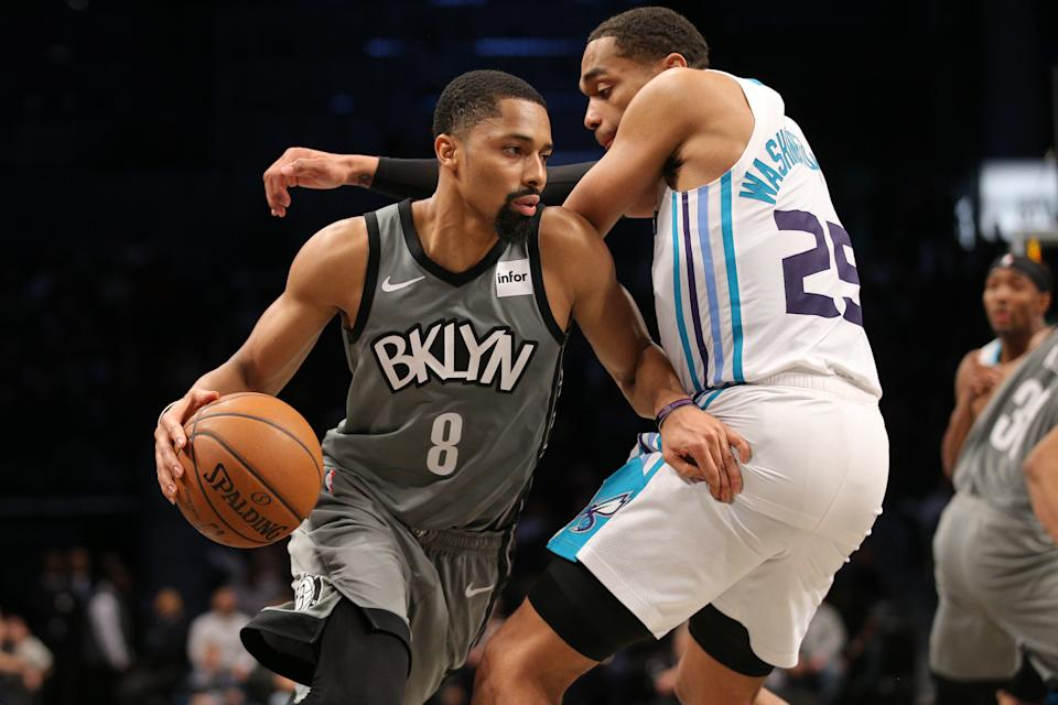 Dec 11, 2019; Brooklyn, NY, USA; Brooklyn Nets point guard Spencer Dinwiddie (8) drives around Charlotte Hornets power forward PJ Washington (25) during the fourth quarter at Barclays Center. Mandatory Credit: Brad Penner-USA TODAY Sports