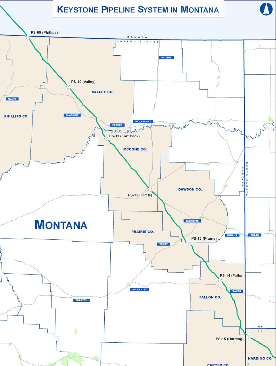 Keystone XL Pipeline route through Montana.