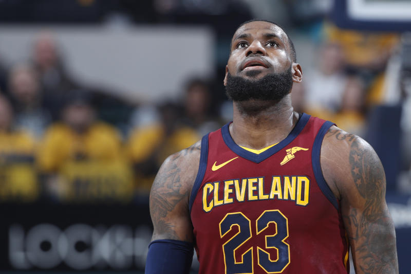 559eb7207185 LeBron James looks up at the scoreboard during the second half of the Cavs   Game 3 loss Friday night. (Getty)