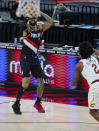 Portland Trail Blazers guard Gary Trent Jr. shoots against the Cleveland Cavaliers during the second half of an NBA basketball game in Portland, Ore., Friday, Feb. 12, 2021. (AP Photo/Craig Mitchelldyer)