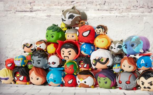 JAKKS Pacific line of Marvel Tsum Tsum figures stacked in pyramid form.