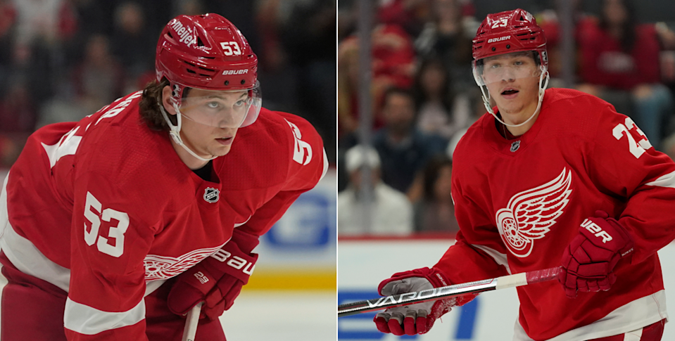 Detroit Red Wings players Moritz Seider (left) and Lucas Raymond shown during 2021 preseason action.