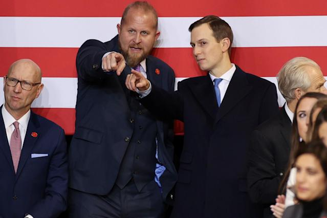 Parscale and White House senior adviser Jared Kushner at a Trump rally in Des Moines, Iowa, in January. (Jonathan Ernst/Reuters)