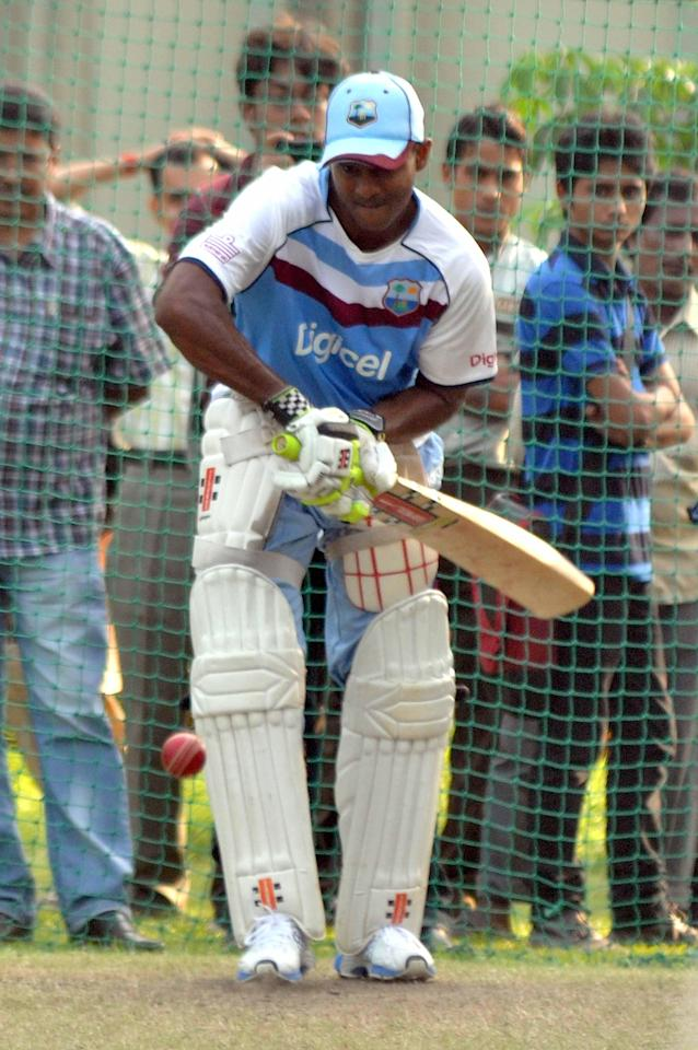 West Indian player Shivnarine Chanderpaul during practice sessions at Salt Lake stadium in Kolkata on Oct.30, 2013. (Photo: IANS)