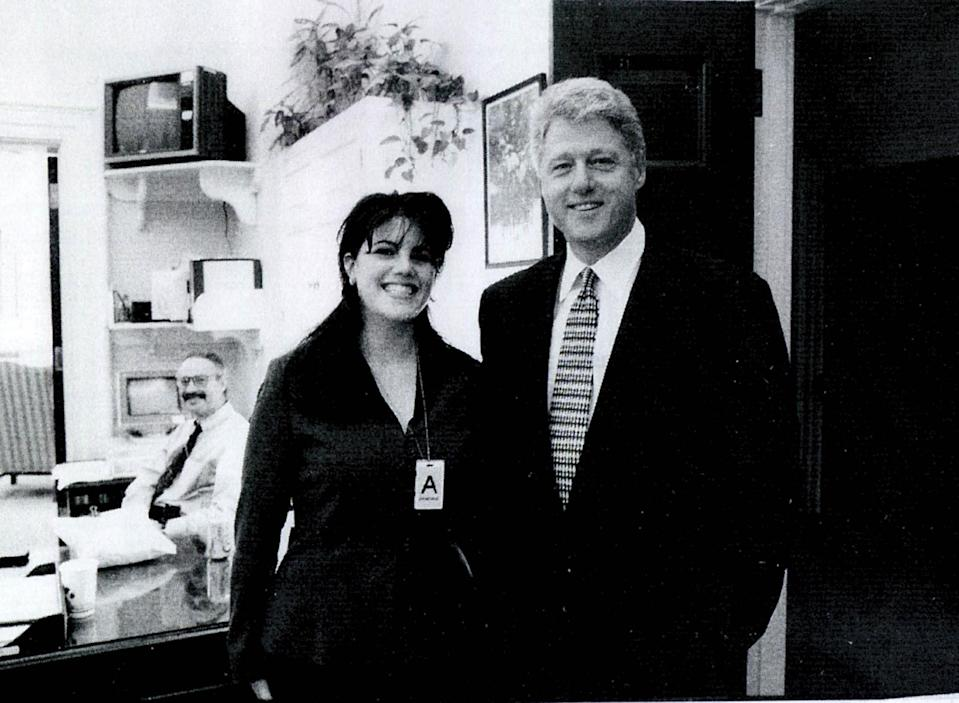 A photograph showing former White House intern Monica Lewinsky meeting President Bill Clinton at a White House function from the 1990s. (Photo: Getty Images)