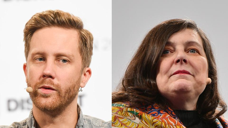 Monzo founder Tom Blomfield, left, and Starling founder Anne Boden. Blomfield worked at Starling before leaving to found Monzo. Photo: Noam Galai/Getty Images for TechCrunch