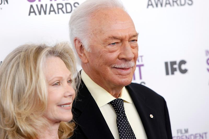 Elaine Taylor, left, and Christopher Plummer arrive at the Independent Spirit Awards on Saturday, Feb. 25, 2012, in Santa Monica, Calif. (AP Photo/Joel Ryan)