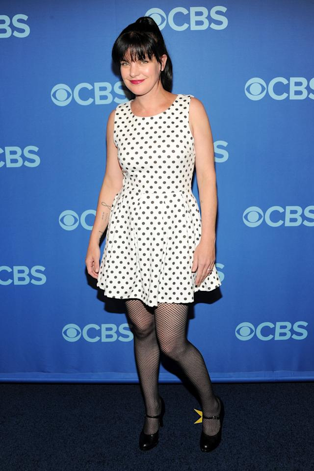 NEW YORK, NY - MAY 15:  Pauley Perrette attends CBS 2013 Upfront Presentation at The Tent at Lincoln Center on May 15, 2013 in New York City.  (Photo by Ben Gabbe/Getty Images)
