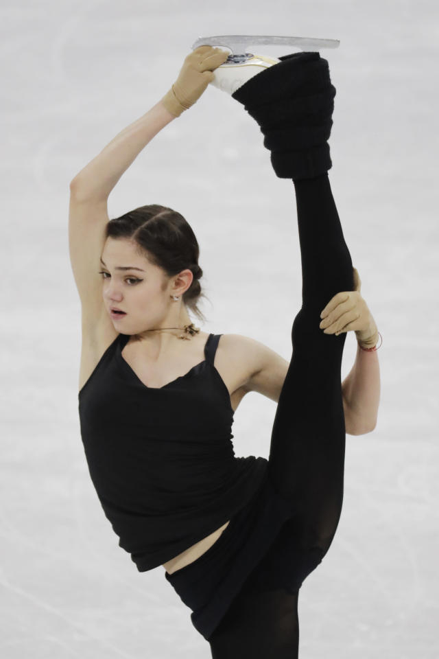 <p>Evgenia Medvedeva of the Olympic Athletes of Russia performs during the team ladies single skating training at the 2018 Winter Olympics in Gangneung, South Korea, Saturday, Feb. 10, 2018. (AP Photo/Bernat Armangue) </p>