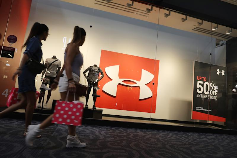 SUNRISE, FLORIDA - NOVEMBER 04: An Under Armour store front is seen on November 04, 2019 in Sunrise, Florida. Under Armour stock dipped in price as reports indicate that federal authorities are investigating the company's accounting practices. (Photo by Joe Raedle/Getty Images)