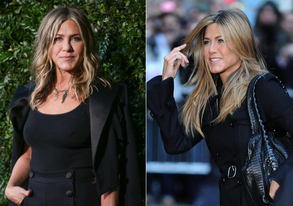 Does Jennifer Aniston age? Compare the photo of Aniston taken in 2008 (left) and in 2018 (right). (Photos: Getty Images)