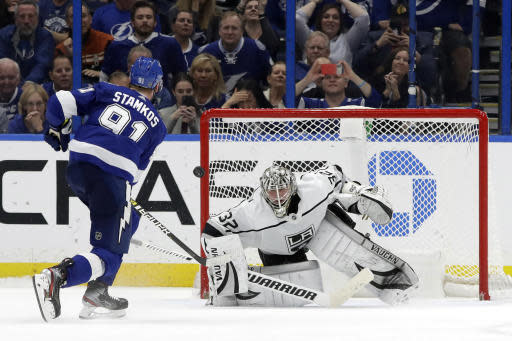 Tampa Bay Lightning center Steven Stamkos (91) scores past Los Angeles Kings goaltender Jonathan Quick (32) during a shoot out in an NHL hockey game Tuesday, Jan. 14, 2020, in Tampa, Fla. The Lightning won the game 4-3. (AP Photo/Chris O'Meara)
