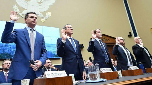 PHOTO: Vape company CEOs take the oath before speaking during an Oversight and Investigations Subcommittee hearing on Capitol Hill, 'Vaping in America: E-Cigarette Manufacturers' Impact on Public Health,' Feb. 5, 2020 in Washington, D.C. (Mandel Ngan/AFP/Getty Images)