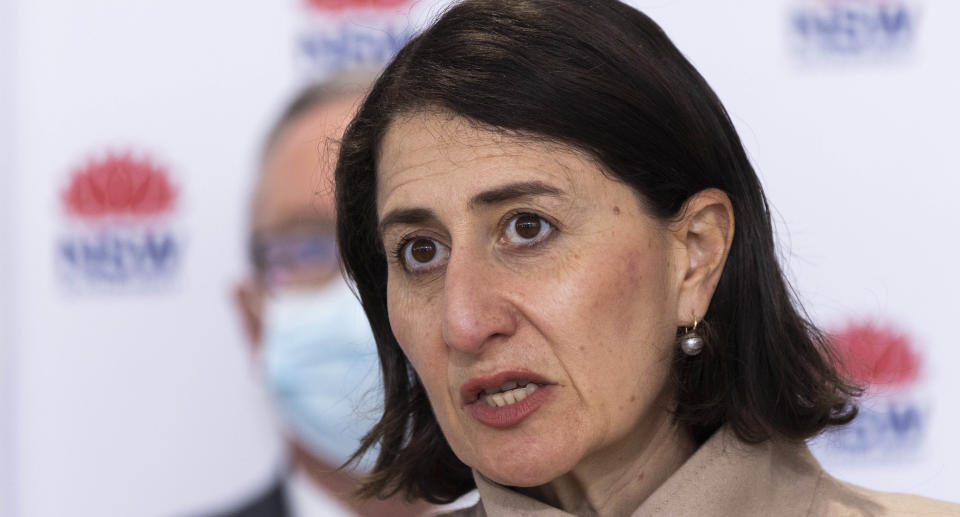 NSW Premier Gladys Berejiklian speaks to the media during a COVID-19 update and press conference in Sydney, Tuesday, August 3, 2021. Source: AAP