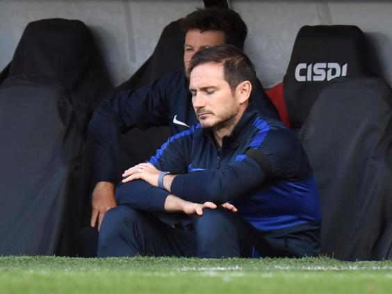Frank Lampard reacts during Chelsea's defeat by Sheffield United (Pool via REUTERS)