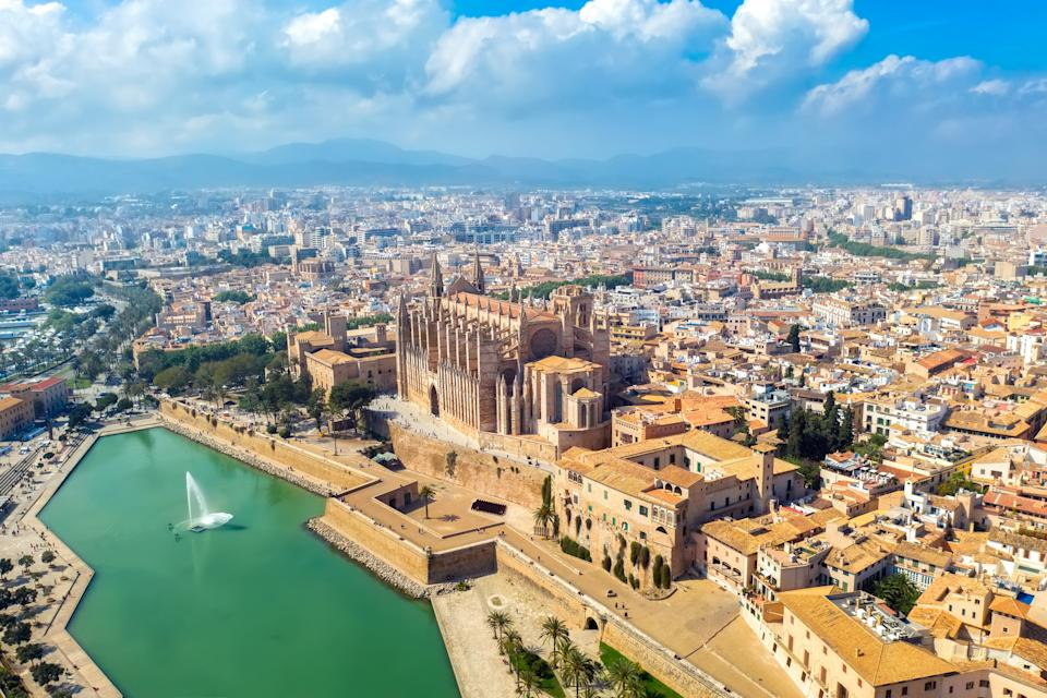 Palma de Mallorca, Spain - 30 september: aerial panoramic view historic cathedral cityscape