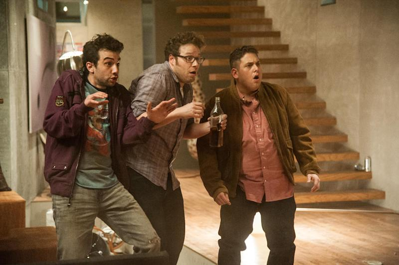 "This film publicity image released by Columbia Pictures shows, from left, Jay Baruchel, Seth Rogen and Jonah Hill in a scene from ""This Is The End.""  (AP Photo/Columbia Pictures - Sony, Suzanne Hanover)"