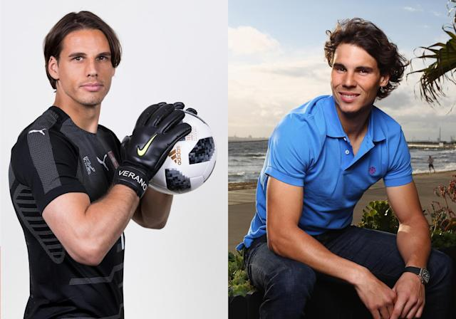 <p>Swiss goalkeeper Yann Sommer and tennis star Rafael nadal </p>