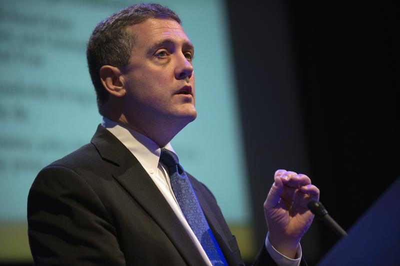 "The Federal Reserve Bank of St. Louis' President and CEO James Bullard speaks during the ""Hyman P. Minsky Conference on the State of the U.S. and World Economies,"" in New York"
