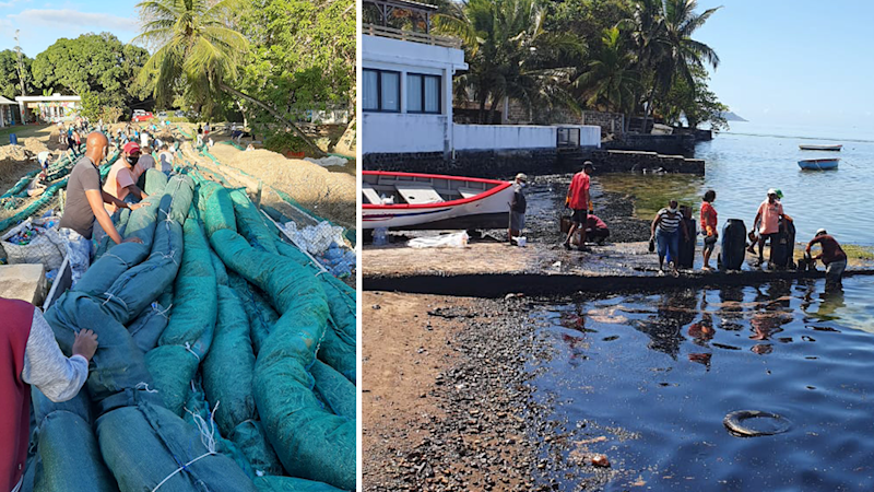 Split screen. Left - sacks filled with sugar cane. Right - a pier with people standing on it, the water below is black with oil