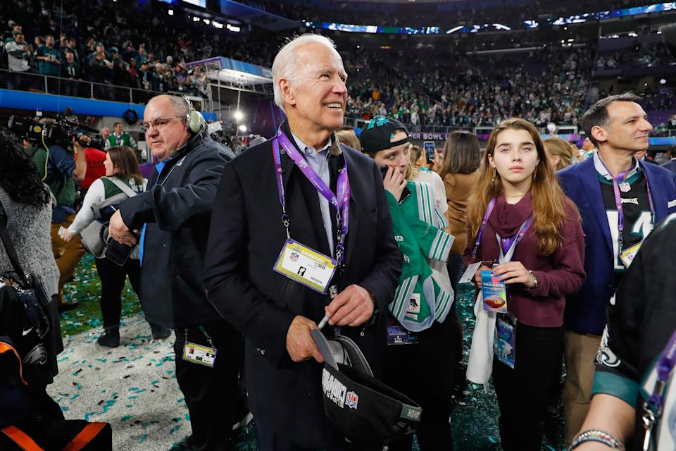 MINNEAPOLIS, MN - FEBRUARY 04: Former Vice President Joe Biden looks on during the celebrations after the Philadelphia Eagles win over the New England Patriots in Super Bowl LII at U.S. Bank Stadium on February 4, 2018 in Minneapolis, Minnesota. The Philadelphia Eagles defeated the New England Patriots 41-33. (Photo by Kevin C. Cox/Getty Images)