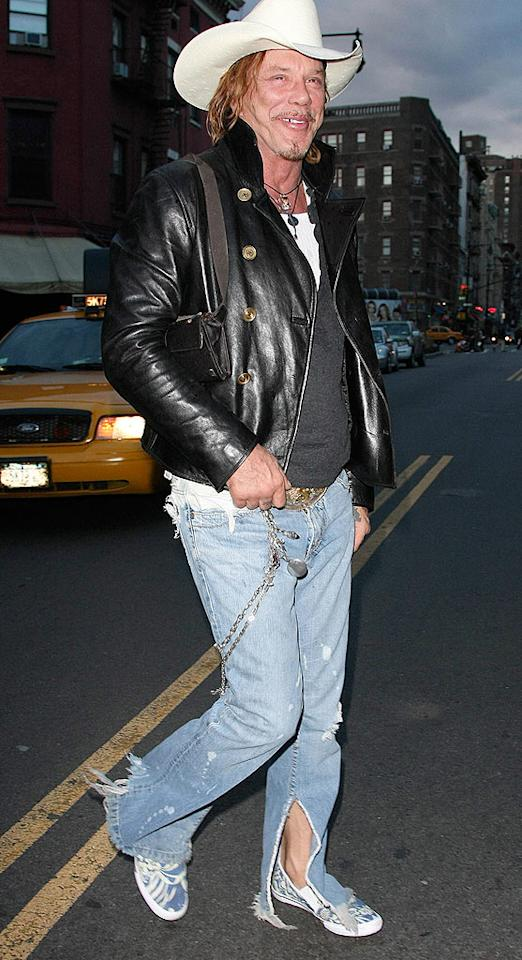 """Although ragged pants are in style, we think Golden Globe winner Mickey Rourke could stand to purchase a new pair. <a href=""""http://www.infdaily.com"""" target=""""new"""">INFDaily.com</a> - February 19, 2009"""