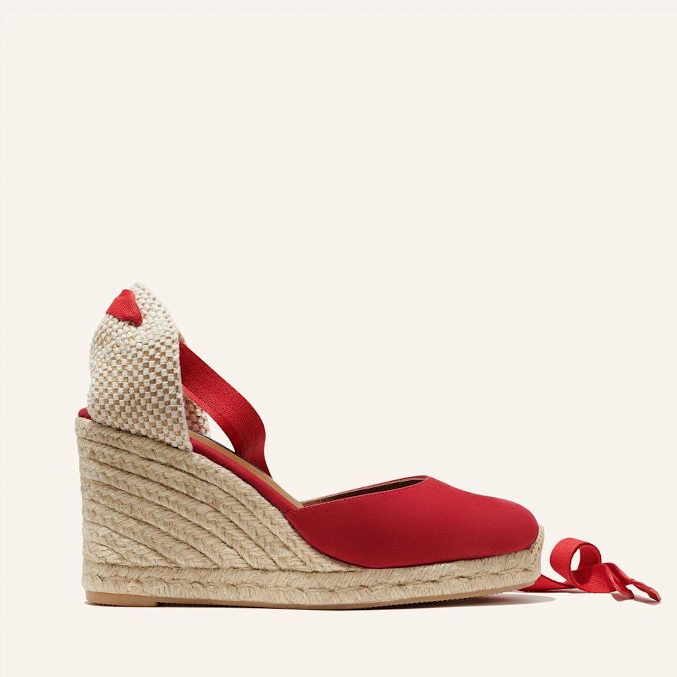 """<p><strong>Margaux</strong></p><p>margauxsamplesale.com</p><p><a href=""""https://margauxsamplesale.com/collections/frontpage/products/the-espadrille-poppy-nubuck"""" rel=""""nofollow noopener"""" target=""""_blank"""" data-ylk=""""slk:SHOP IT"""" class=""""link rapid-noclick-resp"""">SHOP IT </a></p><p><del>$175</del><strong><br>$99</strong></p><p>Just because summer looks a little different this year doesn't mean you shouldn't buy some cute espadrilles. This pair is reimagined with a cushioned leather sole to offer some extra comfort. </p>"""