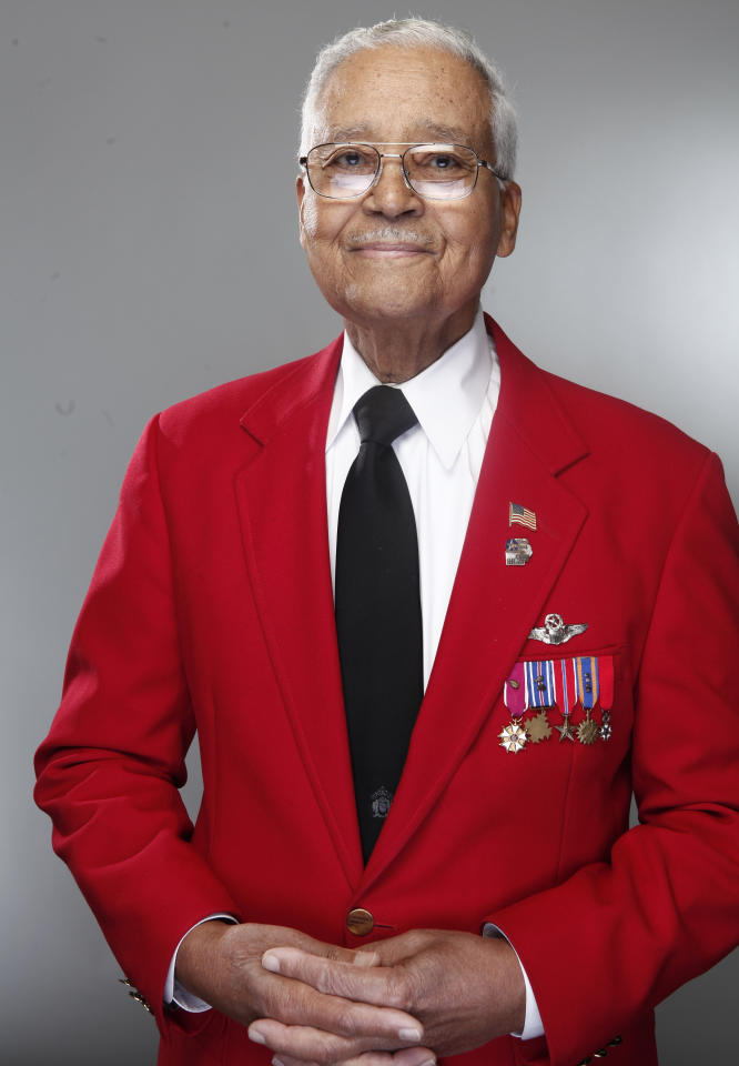 "In this Jan. 10, 2012 photo, Tuskegee airman Charles McGee poses for a portrait during the ""Red Tails"" junket in New York. ""Red Tails,"" a film that chronicles the heroism of the Tuskegee Airmen, opens Friday, Jan. 20. (AP Photo/Carlo Allegri)"