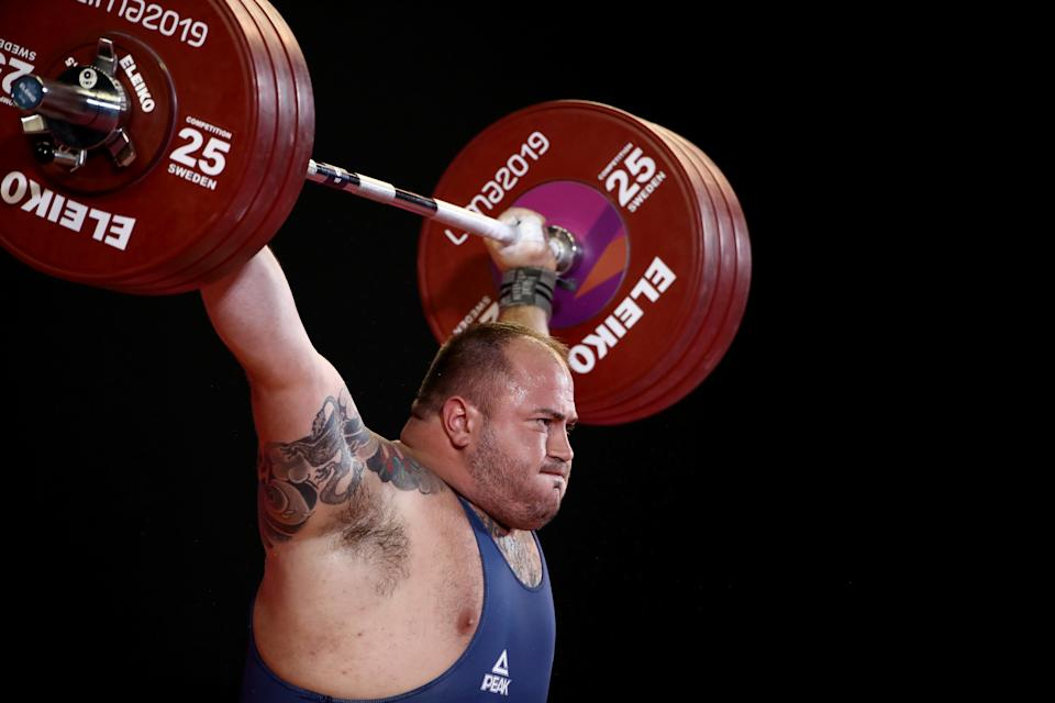 LIMA, PERU - JULY 30:  Fernando Saraiva Reis of Brazil competes in the men's +109kg weightlifting competition on Day 4 of Lima 2019 Pan American Games on July 30, 2019 in Lima, Peru.  Reis won the gold medal. (Photo by Ezra Shaw/Getty Images)