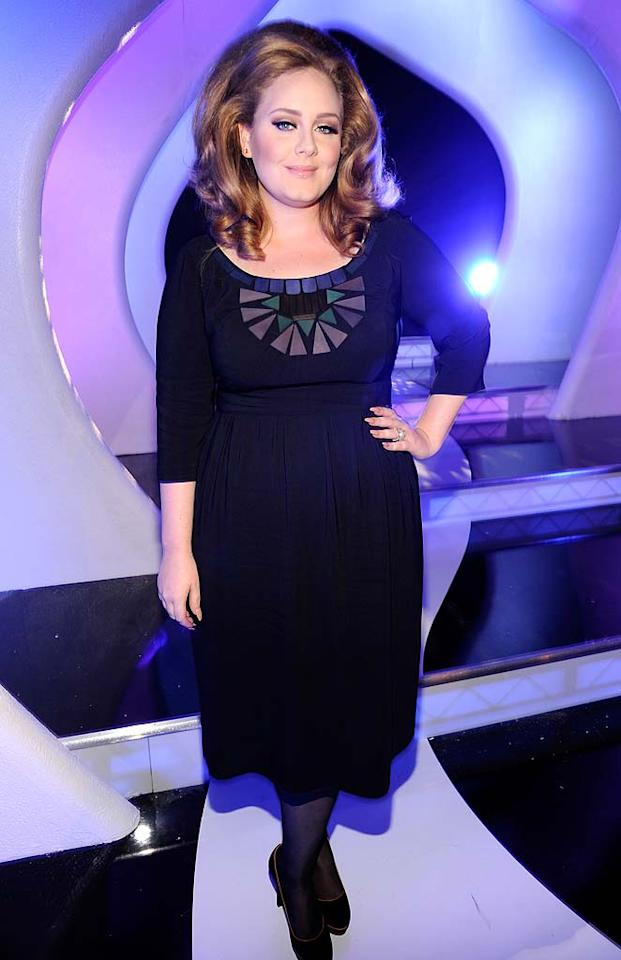 """Rolling In the Deep"" singer Adele played it safe in a basic black frock and her signature bouffant 'do. Kevin Mazur/<a href=""http://www.wireimage.com"" target=""new"">WireImage.com</a> - August 28, 2011"