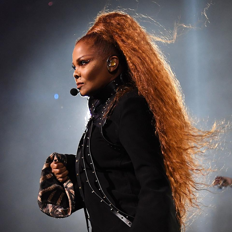 """<p>Janet Jackson's ponytail is in — dare we say it — <em><a href=""""https://www.youtube.com/watch?v=LH8xbDGv7oY"""">control</a></em>. To achieve this look, hairstylist <a href=""""https://www.instagram.com/tippishorter/"""">Tippi Shorter</a> recommends using a leave-in conditioner such as <a href=""""https://shop-links.co/1686380667724319005"""" rel=""""nofollow"""">Mizani 25 Miracle Milk Leave-In Treatment</a> on wet or dry hair, and then blow-drying it in the direction of the ponytail. If your hair isn't stick-straight after the blow-dry, """"Use a lightweight gel to continue to smooth hair into a ponytail and secure with a snag-free covered elastic. If you've got long-ish hair, take a half-inch section, wrap around the elastic, and secure with a pin,"""" Shorter says.</p> <p>If you need to add length, she suggests using either a <a href=""""https://shop-links.co/1686563984629402229"""" rel=""""nofollow"""">synthetic pre-made ponytail</a> or a bundle of human hair from a brand such as <a href=""""https://indiquehair.com/"""" rel=""""nofollow"""">Indique</a>, and wrap it around your natural hair by putting it over the ponytail you just created. Use a texture spray to add body, fluff out your pony, and you're done.</p>"""