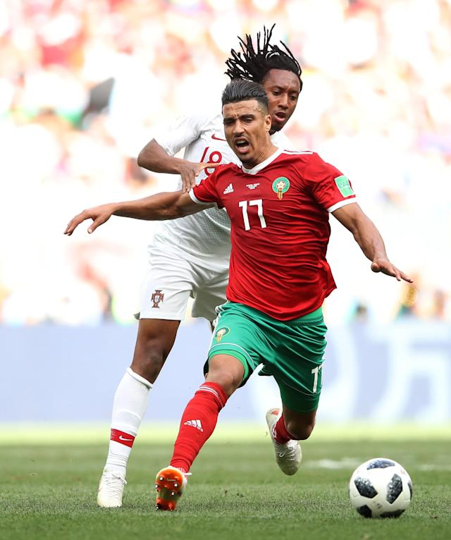 Soccer Football - World Cup - Group B - Portugal vs Morocco - Luzhniki Stadium, Moscow, Russia - June 20, 2018 Portugal's Gelson Martins in action with Morocco's Nabil Dirar REUTERS/Carl Recine