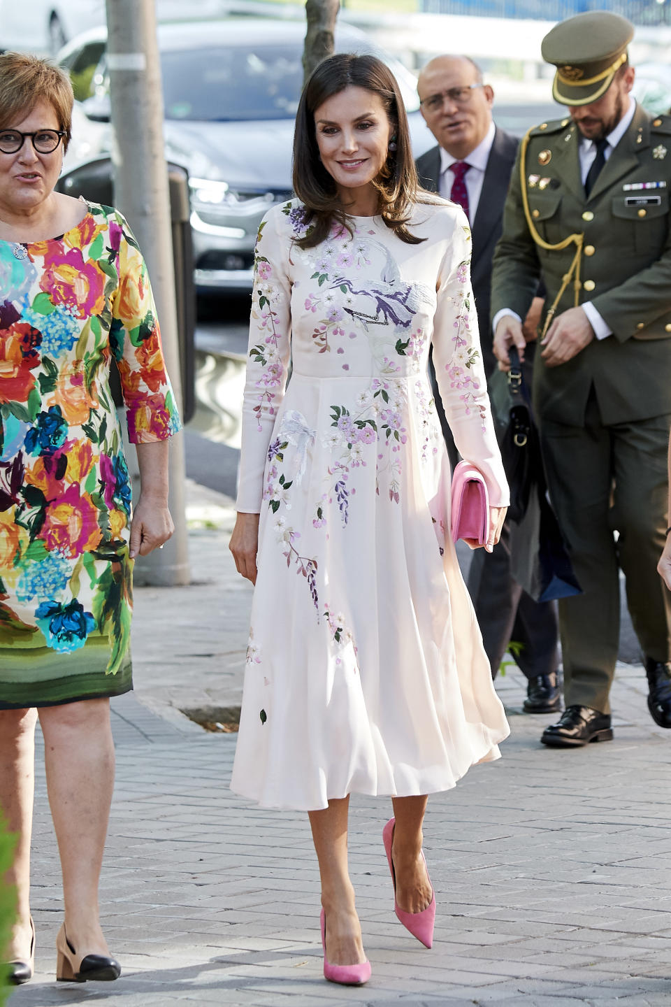 MADRID, SPAIN - JULY 08: Queen Letizia of Spain attends a meeting at the AECC (Spanish Association Against Cancer) on July 08, 2019 in Madrid, Spain. (Photo by Carlos R. Alvarez/WireImage)