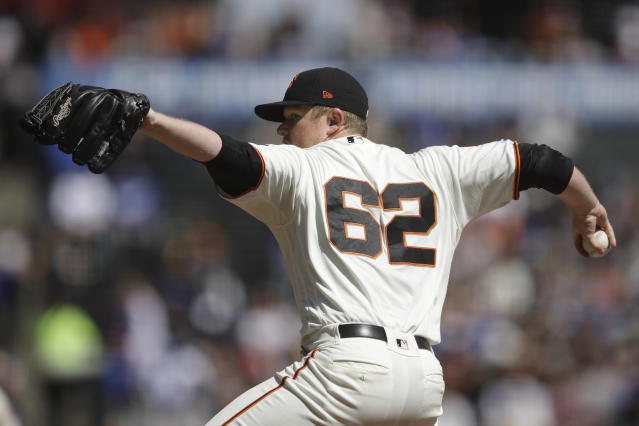 San Francisco Giants pitcher Logan Webb works against the Los Angeles Dodgers in the first inning of a baseball game Saturday, Sept 28, 2019, in San Francisco. (AP Photo/Ben Margot)