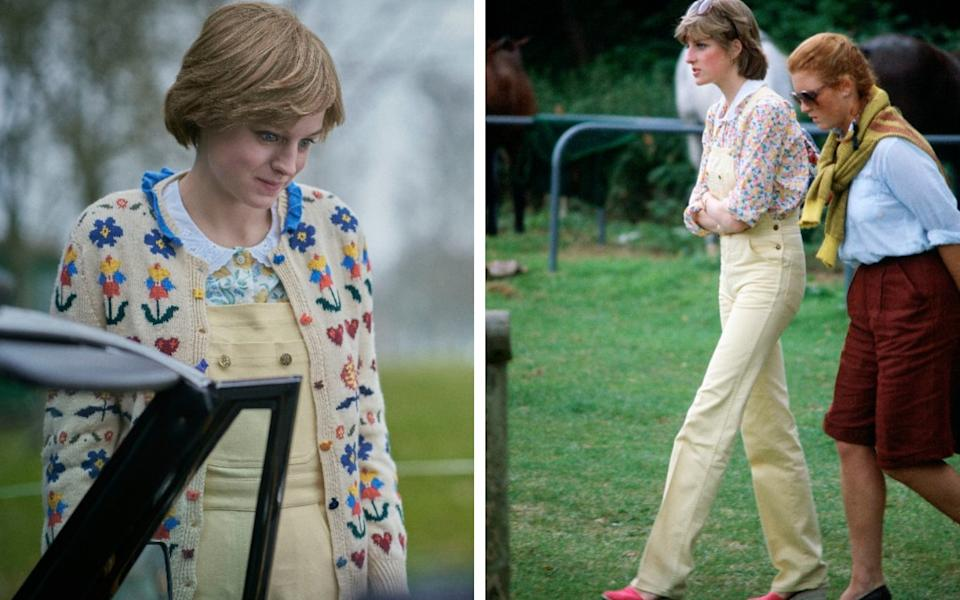 Emma Corrin and Diana wearing floral shirts and dungarees - Netflix/ Getty